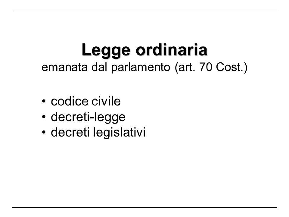 Legge ordinaria emanata dal parlamento (art. 70 Cost.)