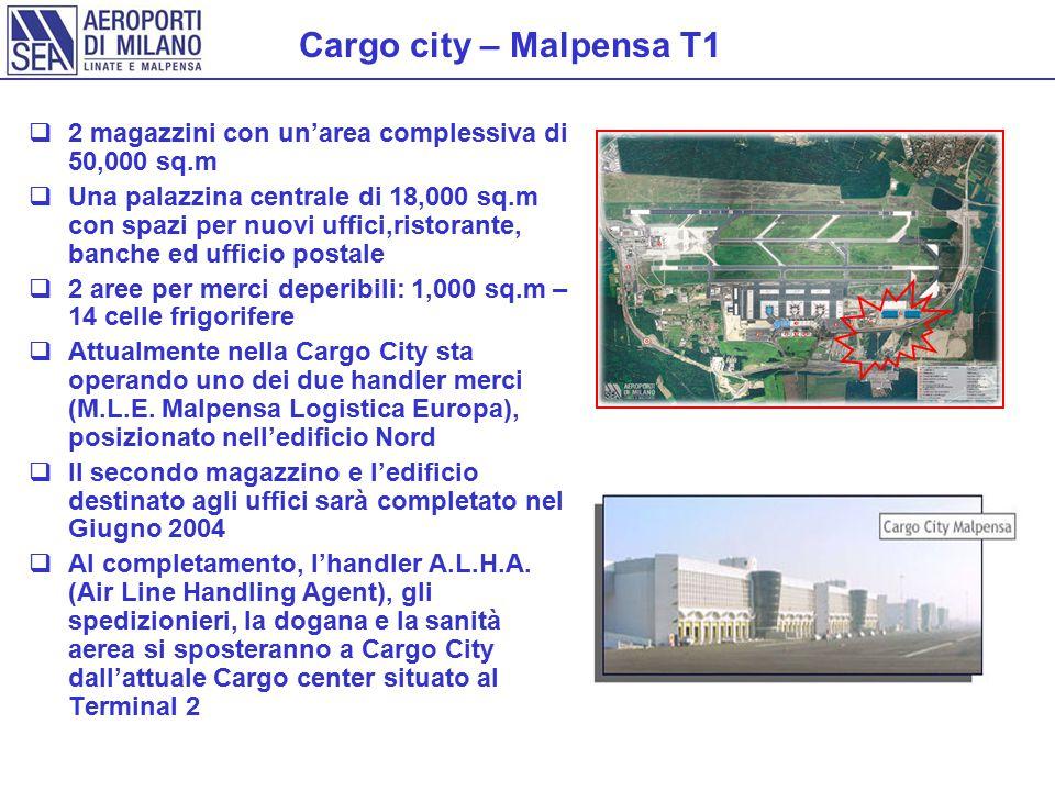 Cargo city – Malpensa T1 2 magazzini con un'area complessiva di 50,000 sq.m.