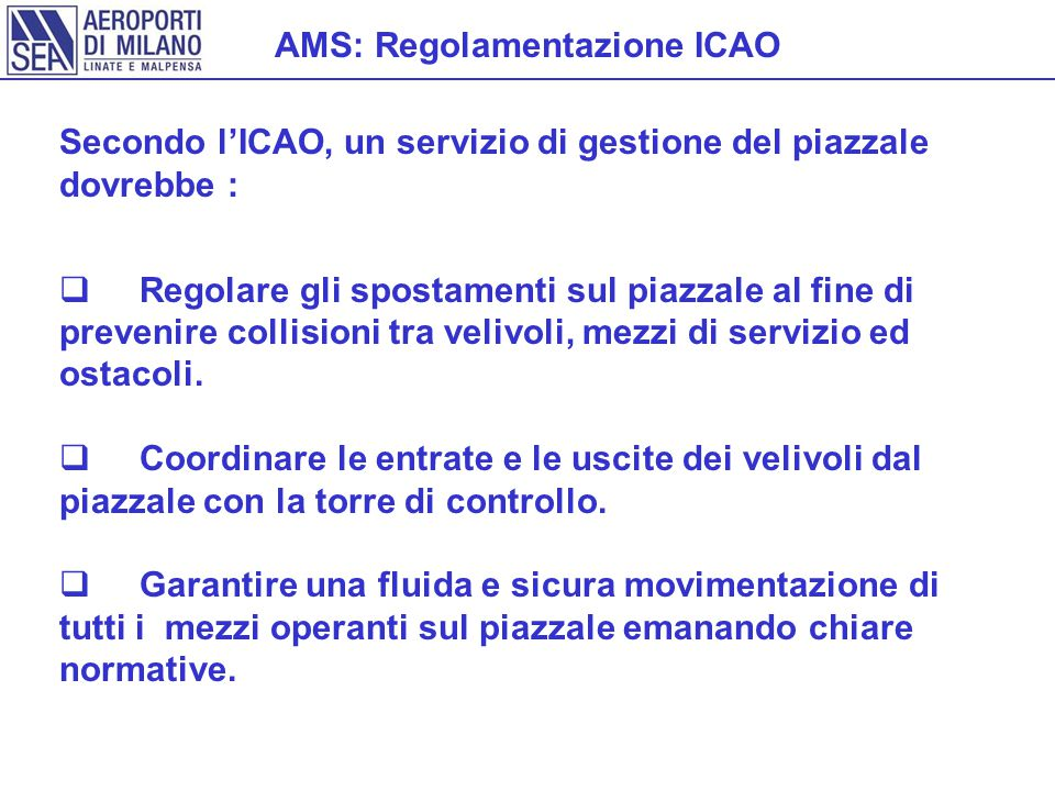 AMS: Regolamentazione ICAO