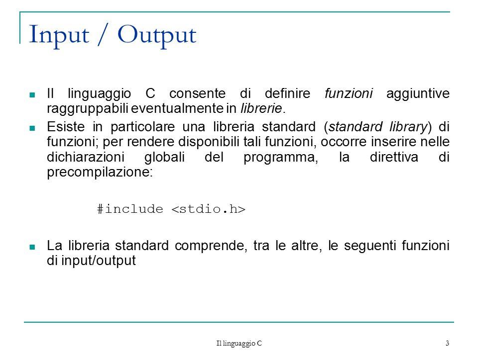 Input / Output Il linguaggio C consente di definire funzioni aggiuntive raggruppabili eventualmente in librerie.