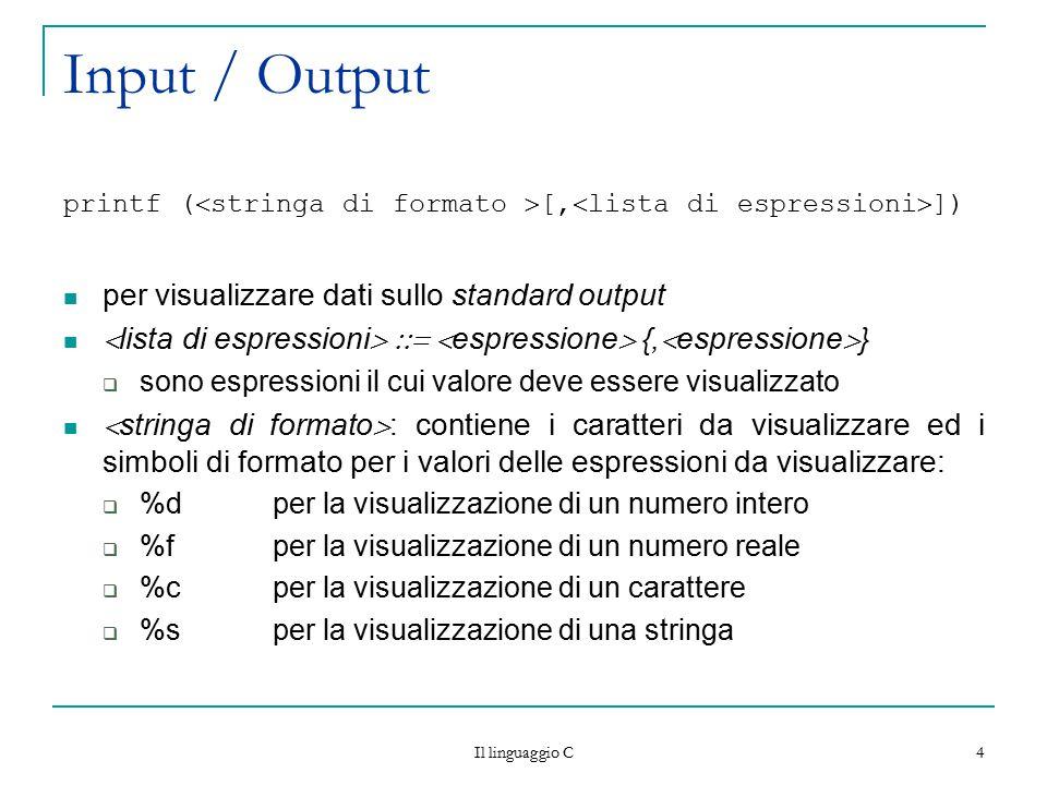 Input / Output per visualizzare dati sullo standard output