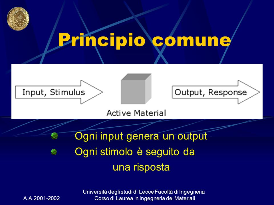 Ogni input genera un output Ogni stimolo è seguito da una risposta