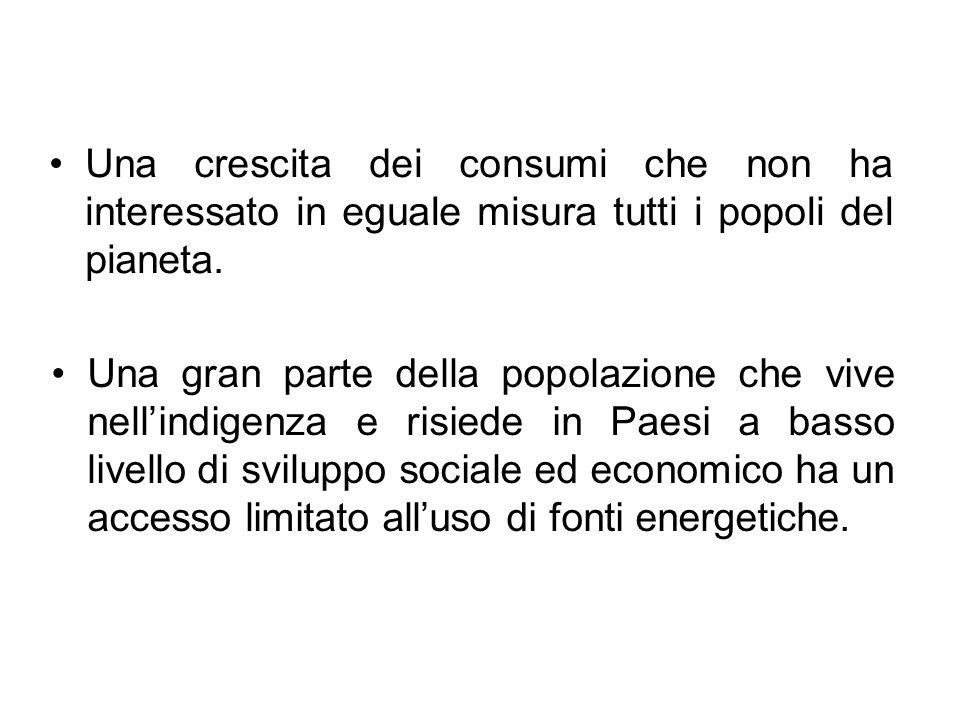 Una crescita dei consumi che non ha interessato in eguale misura tutti i popoli del pianeta.