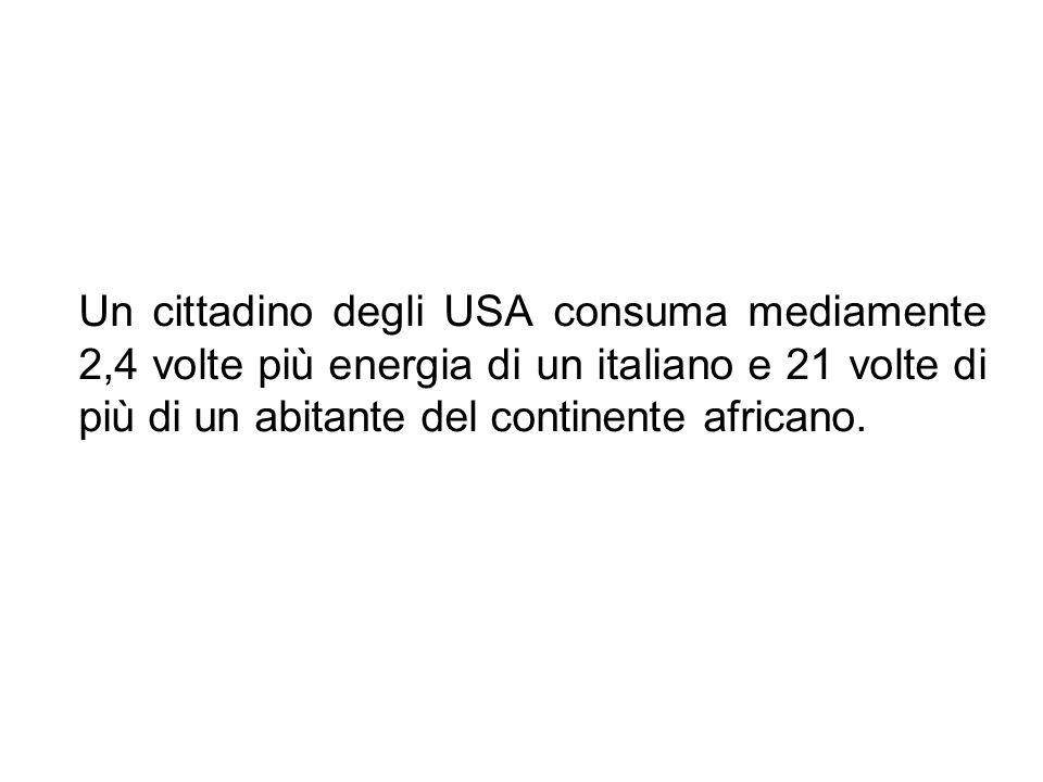 Un cittadino degli USA consuma mediamente 2,4 volte più energia di un italiano e 21 volte di più di un abitante del continente africano.