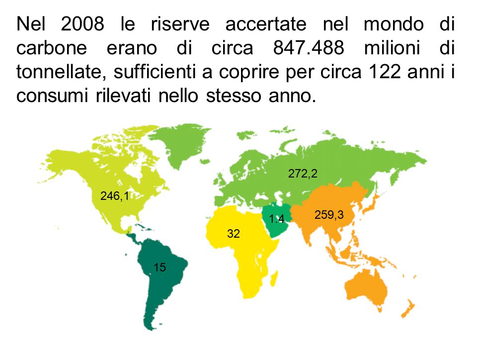 Nel 2008 le riserve accertate nel mondo di carbone erano di circa 847
