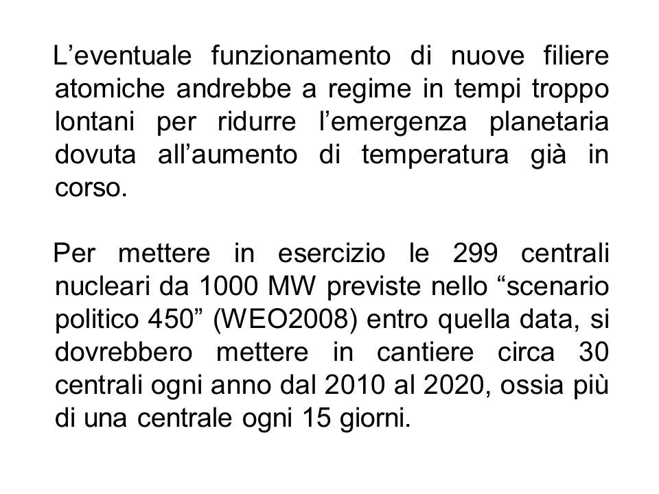 L'eventuale funzionamento di nuove filiere atomiche andrebbe a regime in tempi troppo lontani per ridurre l'emergenza planetaria dovuta all'aumento di temperatura già in corso.