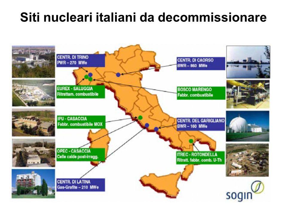 Siti nucleari italiani da decommissionare