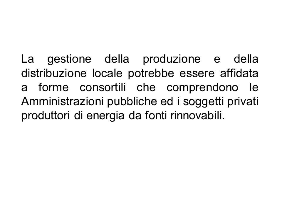 La gestione della produzione e della distribuzione locale potrebbe essere affidata a forme consortili che comprendono le Amministrazioni pubbliche ed i soggetti privati produttori di energia da fonti rinnovabili.