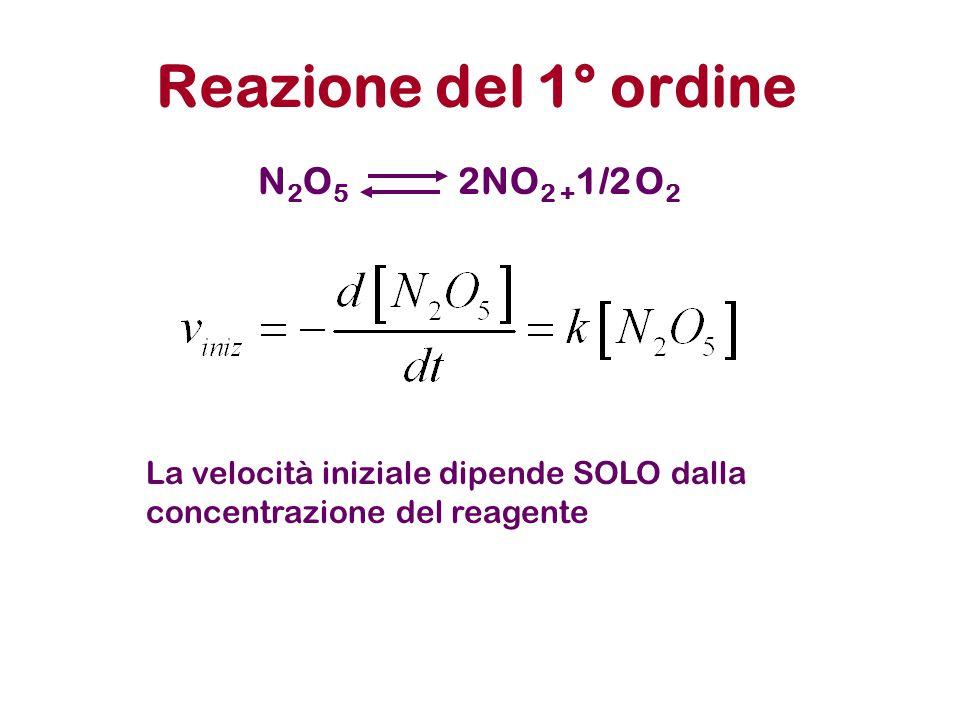 Reazione del 1° ordine N2O5 2NO2 +1/2 O2