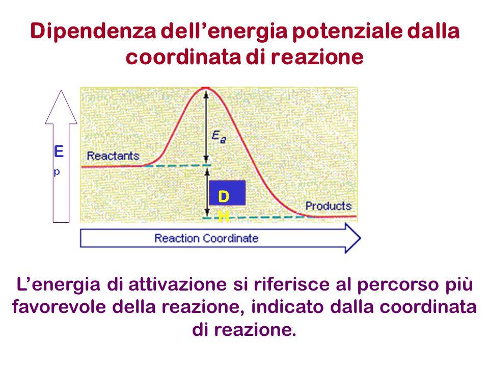 Dipendenza dell'energia potenziale dalla coordinata di reazione