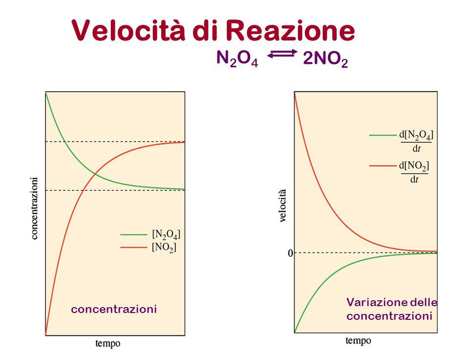 Velocità di Reazione N2O4 2NO2 Variazione delle concentrazioni