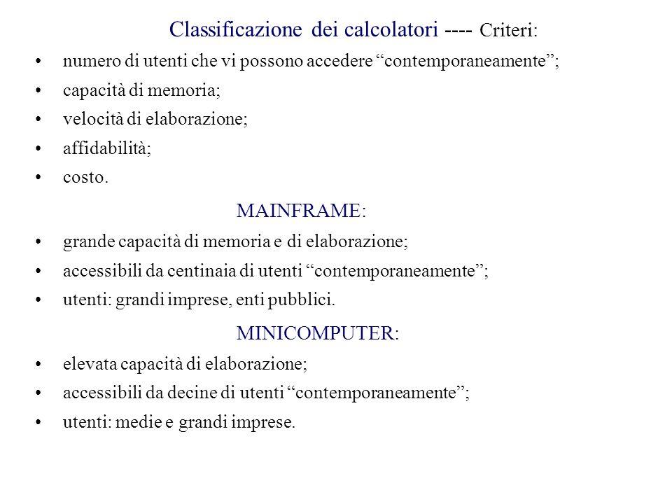 Classificazione dei calcolatori ---- Criteri: