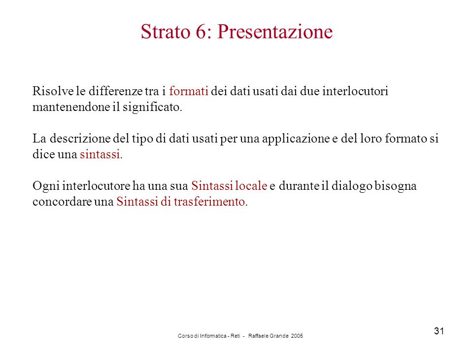Strato 6: Presentazione