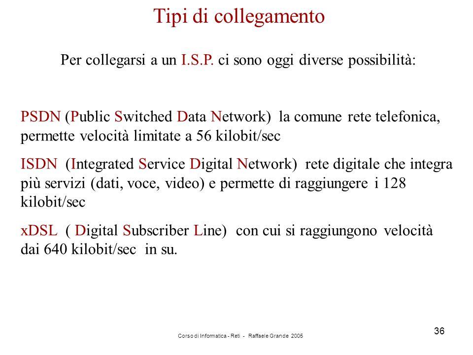 Tipi di collegamento Per collegarsi a un I.S.P. ci sono oggi diverse possibilità: