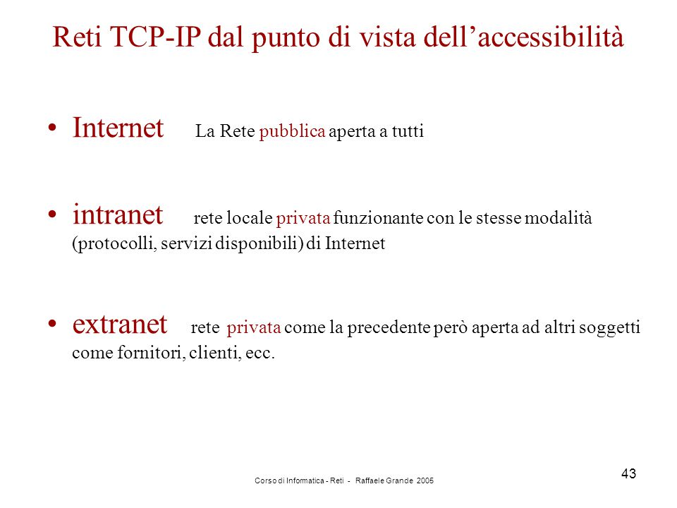 Reti TCP-IP dal punto di vista dell'accessibilità