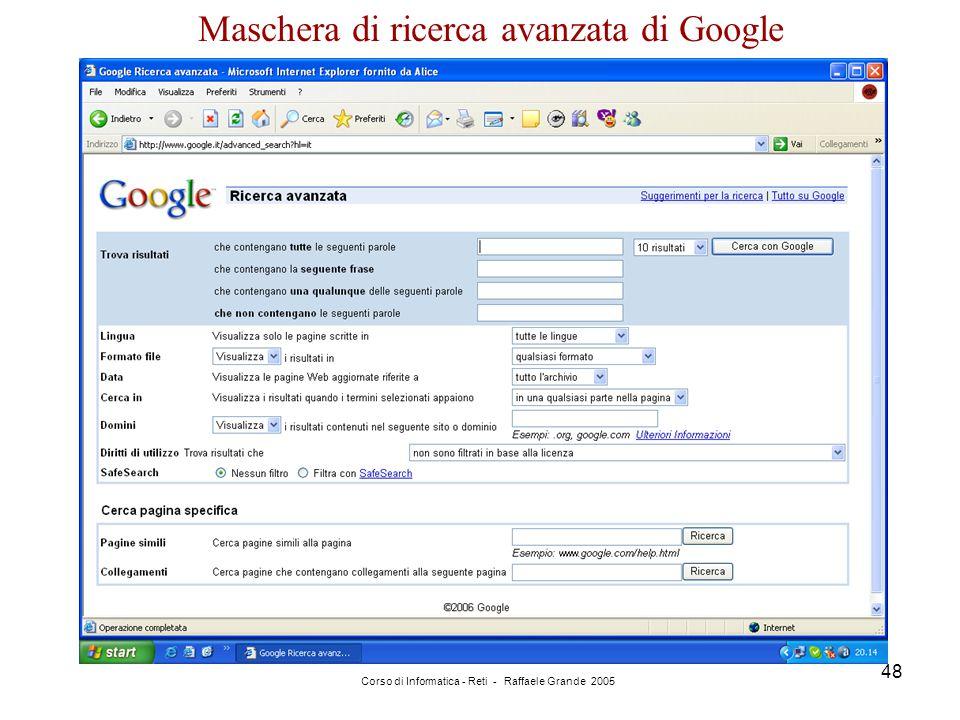 Maschera di ricerca avanzata di Google