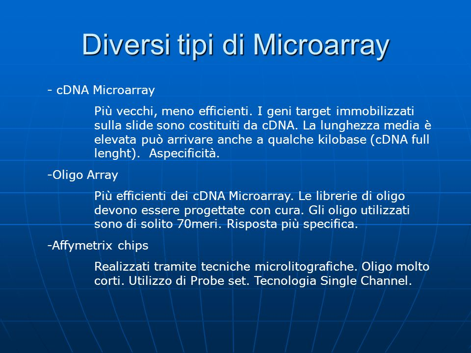Diversi tipi di Microarray