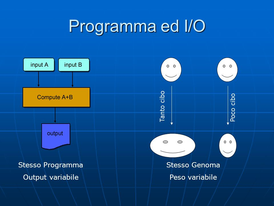 Programma ed I/O Stesso Programma Output variabile Stesso Genoma