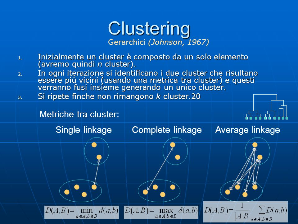 Clustering Metriche tra cluster: Single linkage Complete linkage