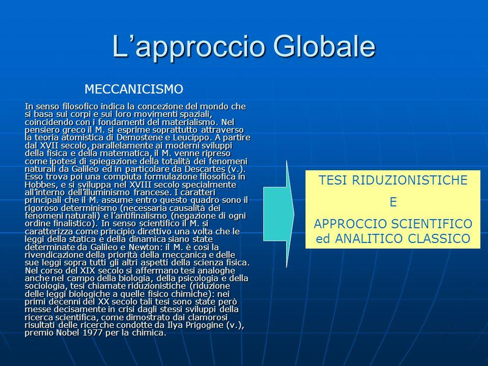 APPROCCIO SCIENTIFICO ed ANALITICO CLASSICO