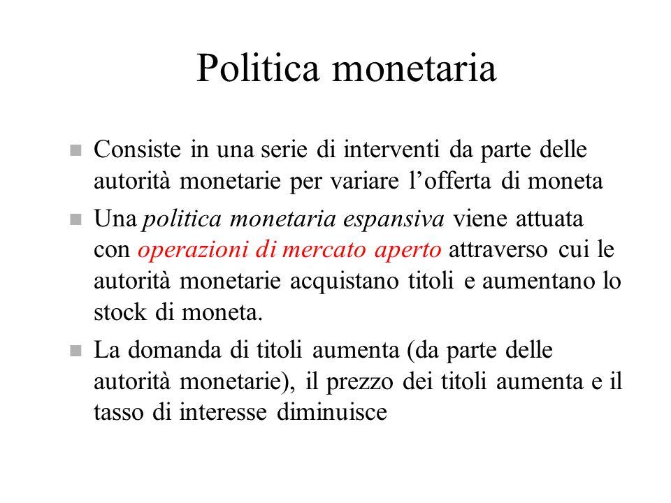 Politica monetaria Consiste in una serie di interventi da parte delle autorità monetarie per variare l'offerta di moneta.