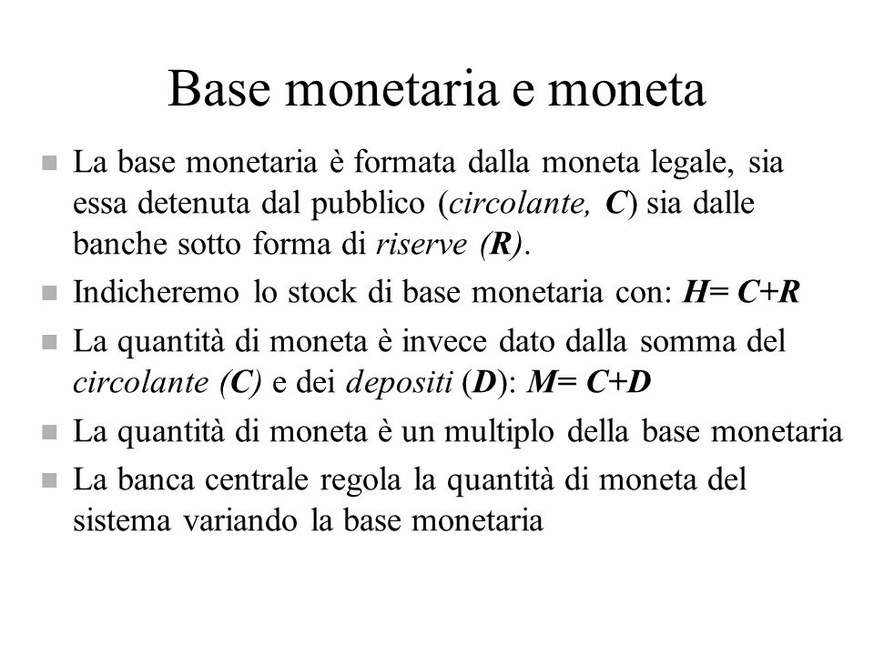 Base monetaria e moneta