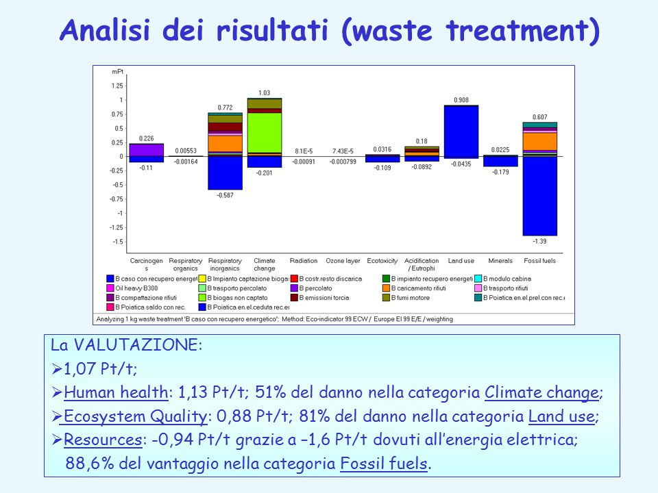 Analisi dei risultati (waste treatment)