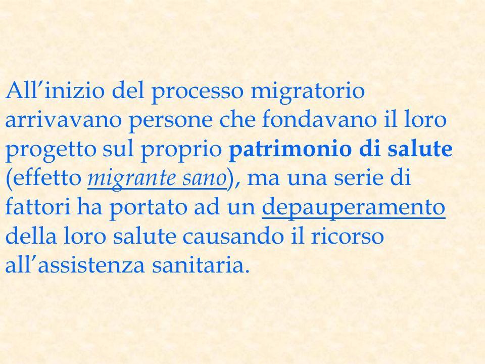 All'inizio del processo migratorio arrivavano persone che fondavano il loro progetto sul proprio patrimonio di salute