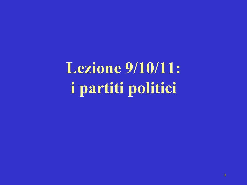 Lezione 9/10/11: i partiti politici