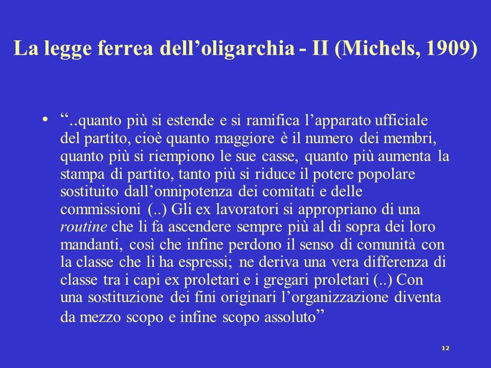 La legge ferrea dell'oligarchia - II (Michels, 1909)