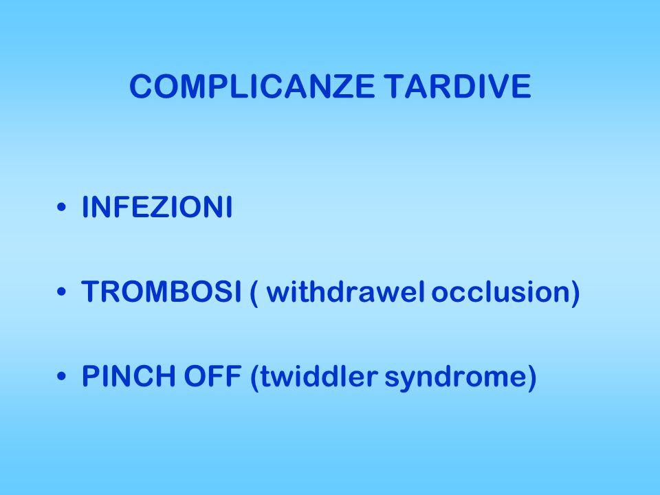 COMPLICANZE TARDIVE INFEZIONI TROMBOSI ( withdrawel occlusion)