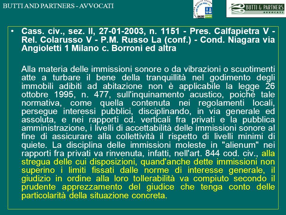 Cass. civ. , sez. II, 27-01-2003, n. 1151 - Pres. Calfapietra V - Rel