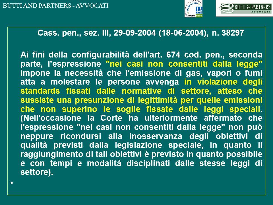 Cass. pen., sez. III, 29-09-2004 (18-06-2004), n. 38297