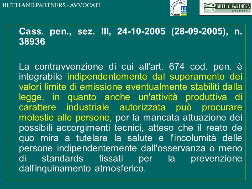 Cass. pen., sez. III, 24-10-2005 (28-09-2005), n. 38936