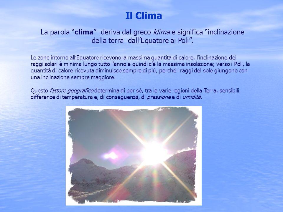 Il Clima La parola clima deriva dal greco klìma e significa inclinazione della terra dall'Equatore ai Poli .