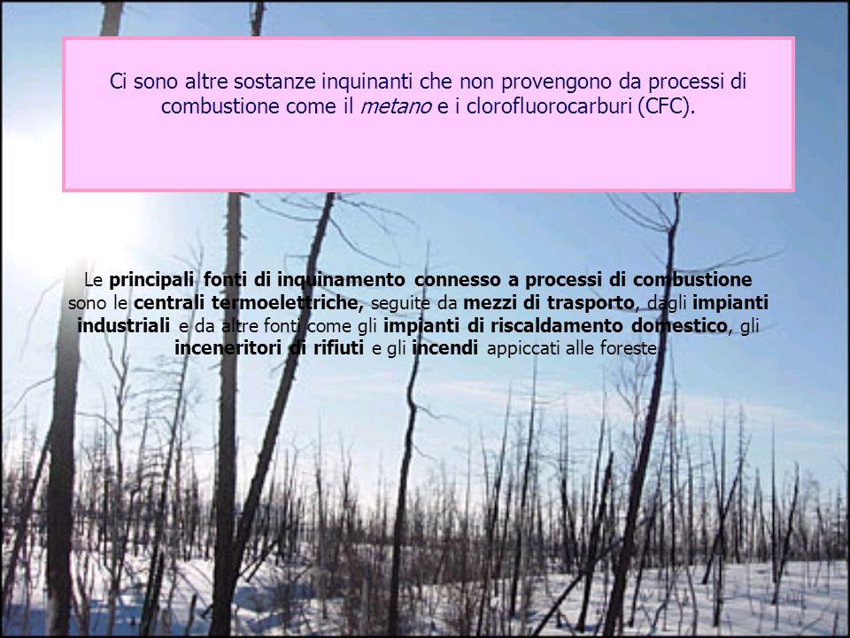 Ci sono altre sostanze inquinanti che non provengono da processi di combustione come il metano e i clorofluorocarburi (CFC).