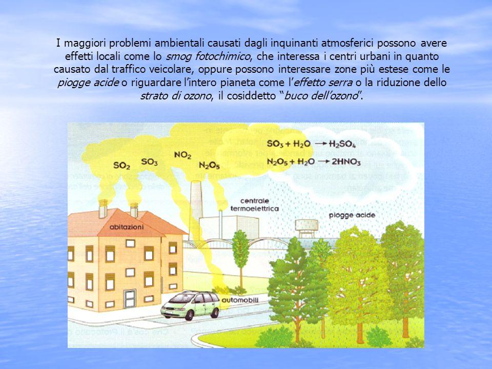 I maggiori problemi ambientali causati dagli inquinanti atmosferici possono avere effetti locali come lo smog fotochimico, che interessa i centri urbani in quanto causato dal traffico veicolare, oppure possono interessare zone più estese come le piogge acide o riguardare l'intero pianeta come l'effetto serra o la riduzione dello strato di ozono, il cosiddetto buco dell'ozono .
