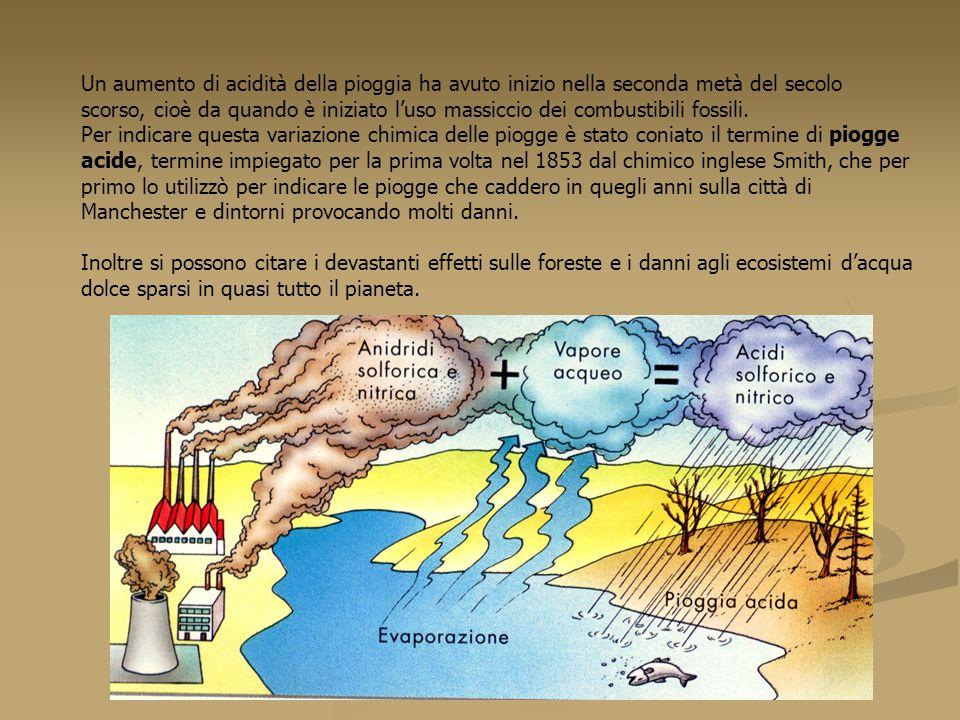 Un aumento di acidità della pioggia ha avuto inizio nella seconda metà del secolo scorso, cioè da quando è iniziato l'uso massiccio dei combustibili fossili.