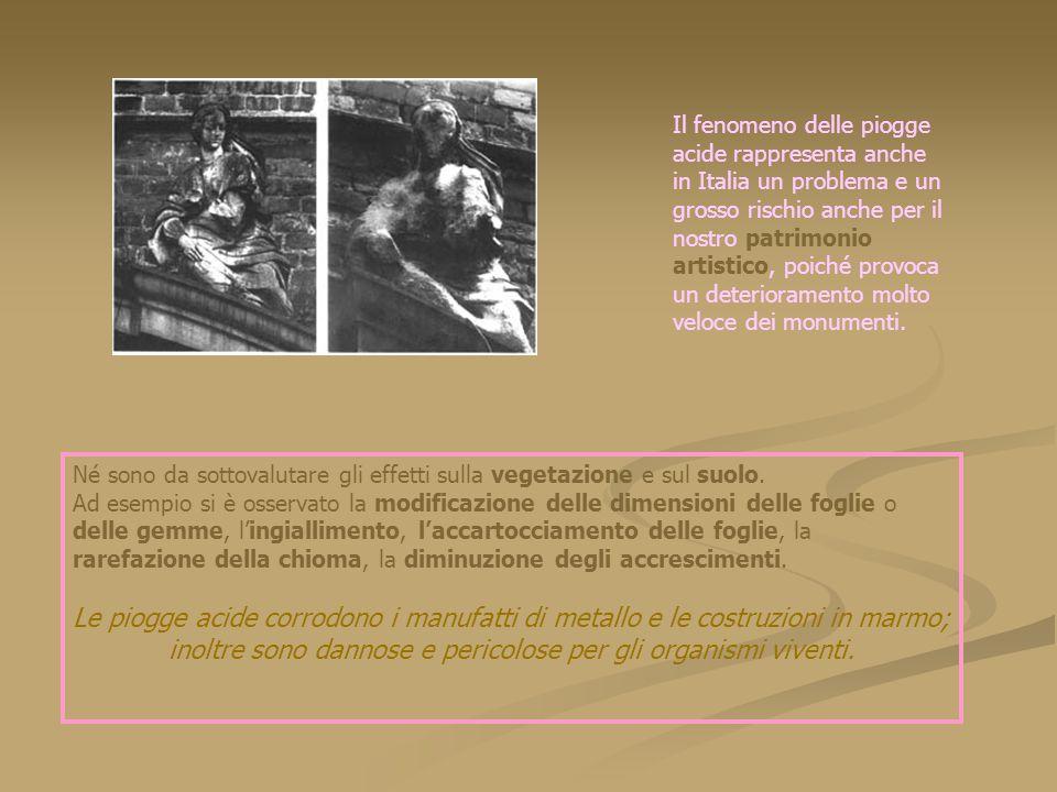 Il fenomeno delle piogge acide rappresenta anche in Italia un problema e un grosso rischio anche per il nostro patrimonio artistico, poiché provoca un deterioramento molto veloce dei monumenti.