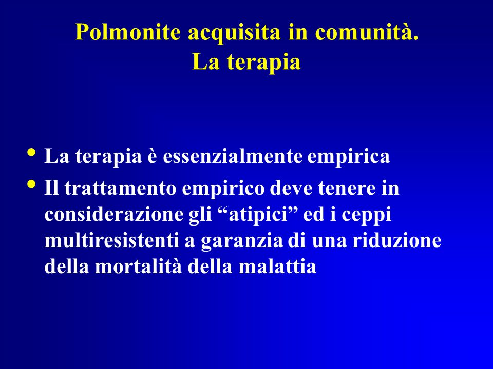 Polmonite acquisita in comunità. La terapia