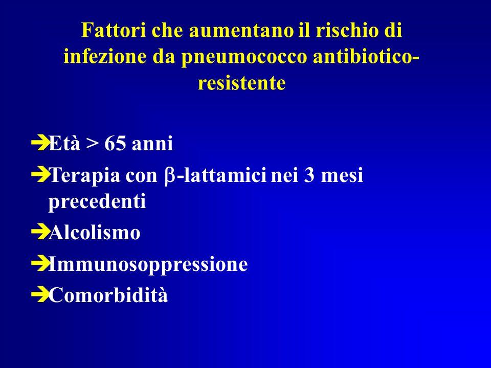 Fattori che aumentano il rischio di infezione da pneumococco antibiotico-resistente
