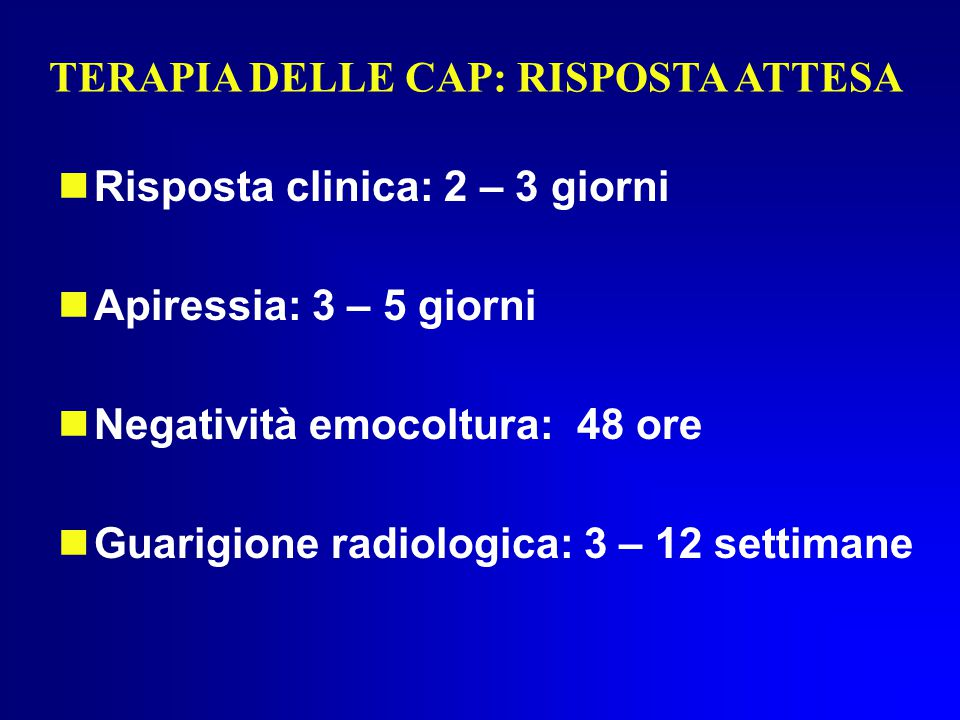 TERAPIA DELLE CAP: RISPOSTA ATTESA