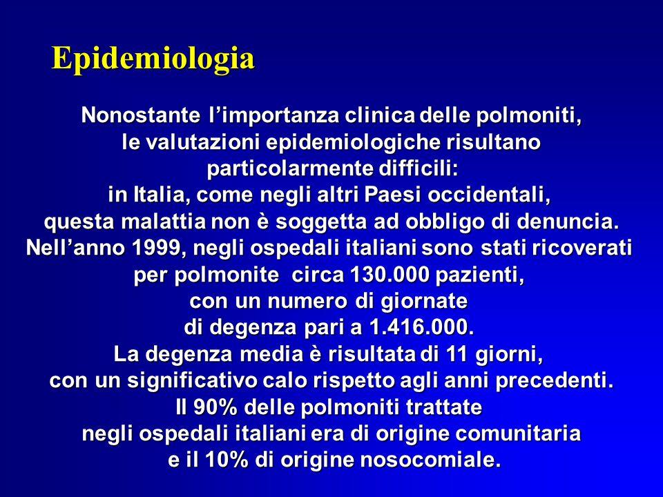 Epidemiologia Nonostante l'importanza clinica delle polmoniti,