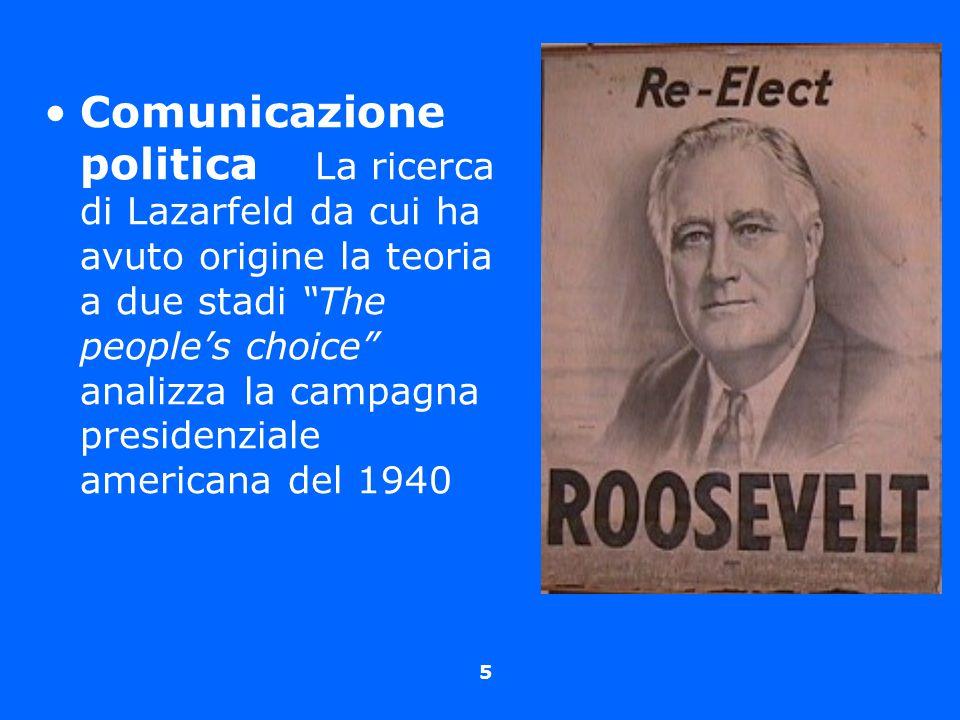 Comunicazione politica La ricerca di Lazarfeld da cui ha avuto origine la teoria a due stadi The people's choice analizza la campagna presidenziale americana del 1940