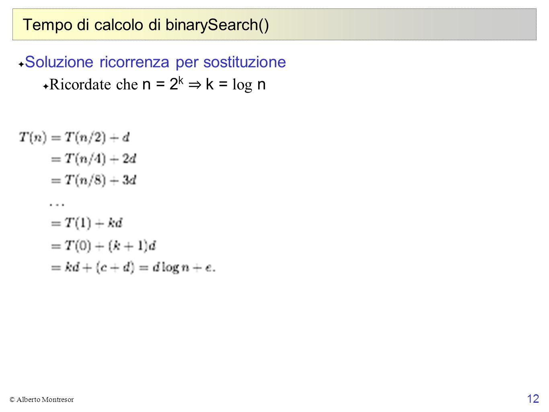 Tempo di calcolo di binarySearch()