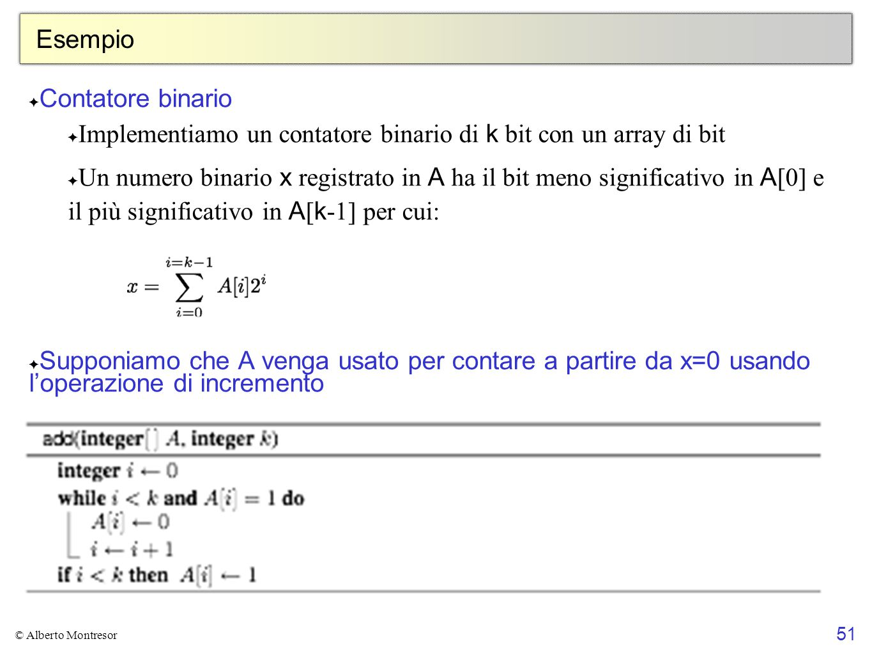 Implementiamo un contatore binario di k bit con un array di bit