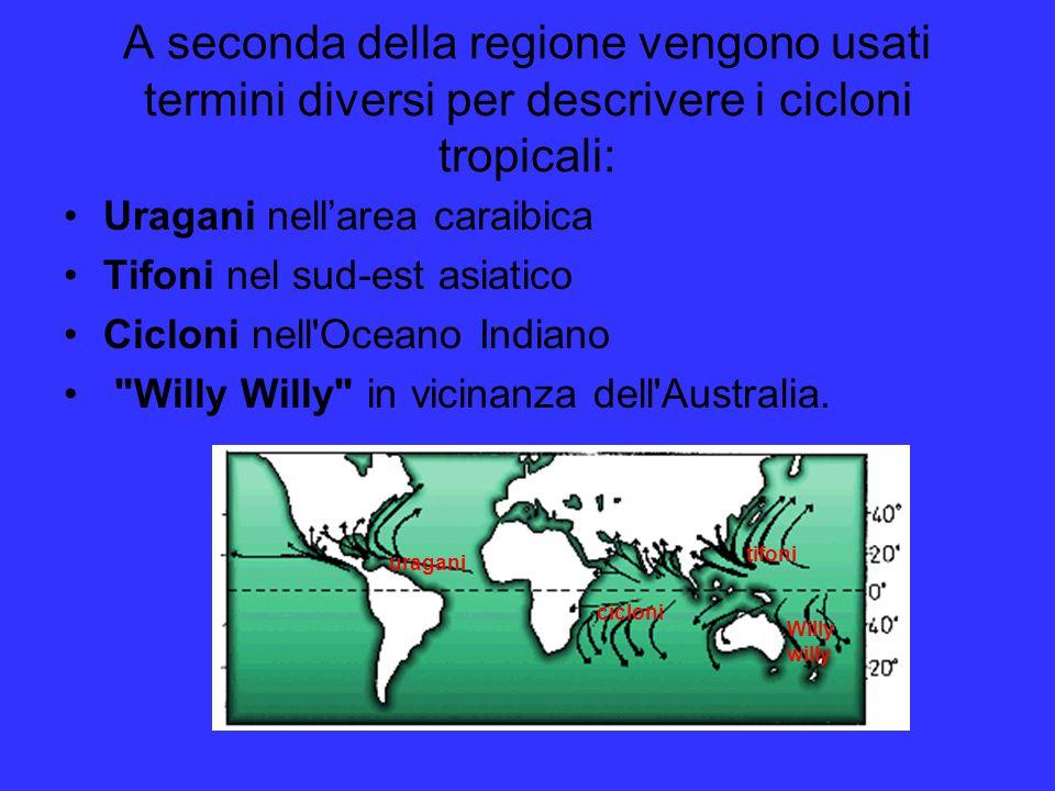 A seconda della regione vengono usati termini diversi per descrivere i cicloni tropicali: