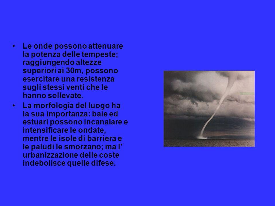 Le onde possono attenuare la potenza delle tempeste; raggiungendo altezze superiori ai 30m, possono esercitare una resistenza sugli stessi venti che le hanno sollevate.