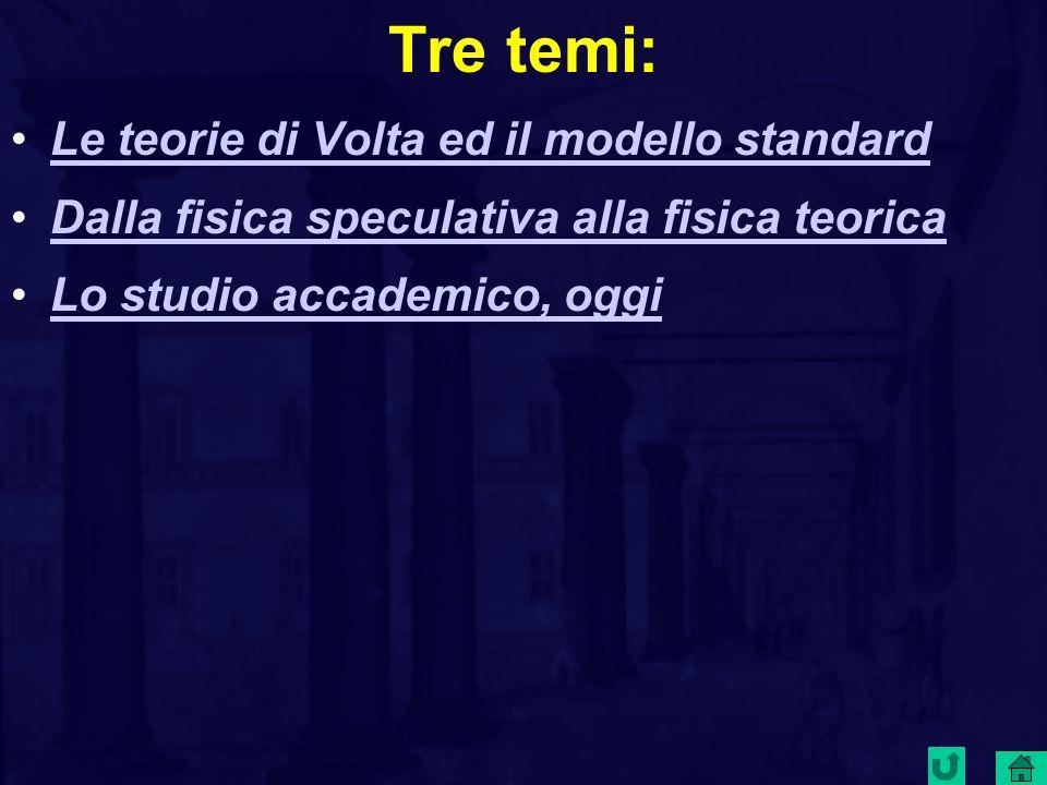 Tre temi: Le teorie di Volta ed il modello standard
