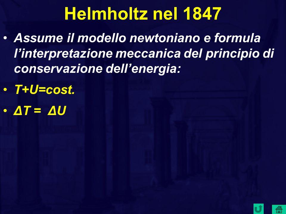 Helmholtz nel 1847 Assume il modello newtoniano e formula l'interpretazione meccanica del principio di conservazione dell'energia: